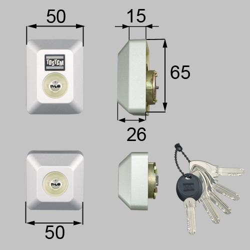LIXIL(トステム) ドア錠セット(MIWA DNシリンダー)長方形 グレー 【品番:DDZZ3013】
