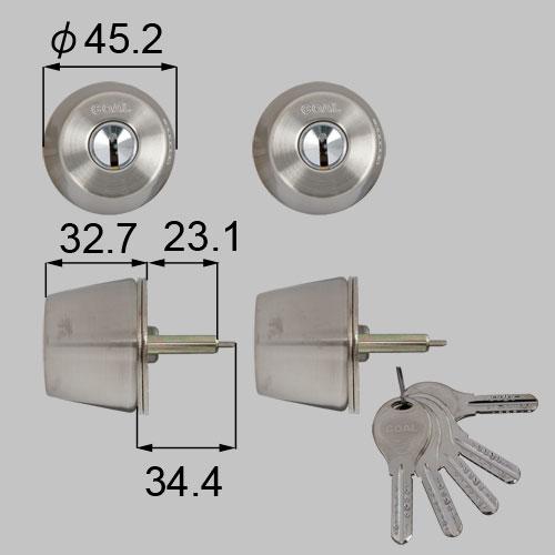 LIXIL(トステム) ドア錠セット(GOAL V18シリンダー) ヘアーライン 【品番:DCZZ1414】