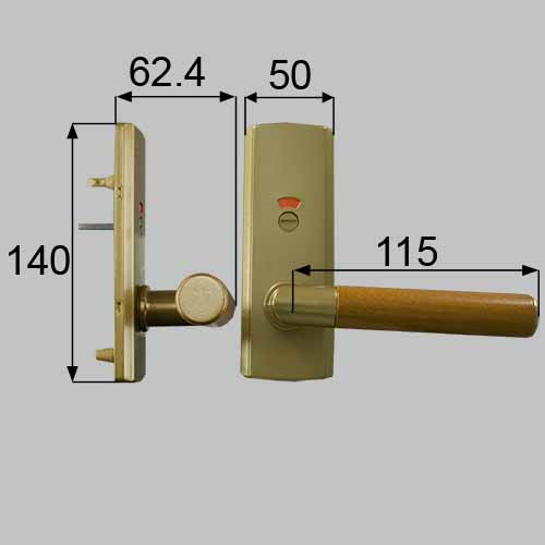 LIXIL(トステム) ウッドグリップDタイプ(表示錠) サテンゴールド・キャラメルモカ 【品番:MZTKWDH05】●