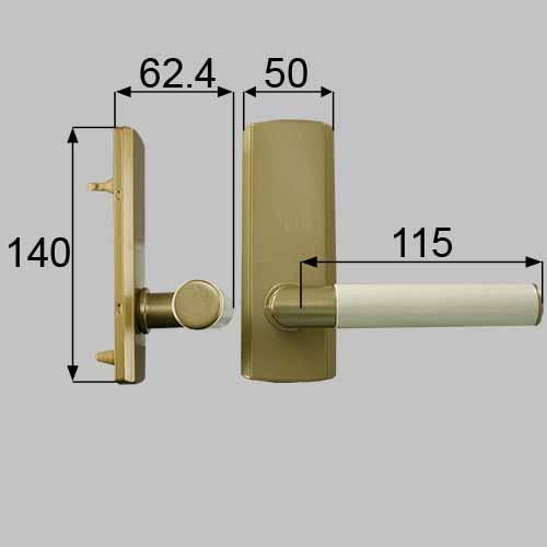 LIXIL(トステム) ウッドグリップDタイプ(空錠) サテンゴールド・リフレホワイト 【品番:MZTRWDS05】