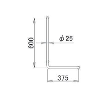 LIXIL(トステム) 金属製ニギリバーL型600×375 【品番:RAFZ413】