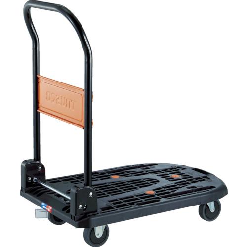 トラスコ中山(TRUSCO) 樹脂台車 カルティオ 折畳 780×490 黒 樹脂ストッパー付 【品番:MPK-720-BK-JS】●