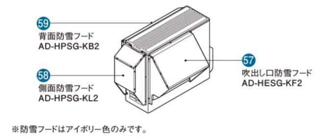 パナソニック エコキュート用 ヒートポンプユニット部材 AD-HPSG-KB2 背面防雪フード アイボリー色