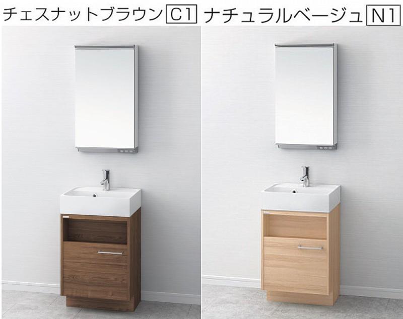 アサヒ衛陶 デザイン洗面化粧台 Duke デューク 間口50センチ 洗面台+LED一面鏡セット LKDU500TFNJMML45 おしゃれ 洗面台 洗面化粧台 500