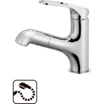 SANEI シングルワンホール洗面混合栓(省施工ナット付) 品番:K4713JV-U 呼び:13 商品番号:K4713JV-U-13