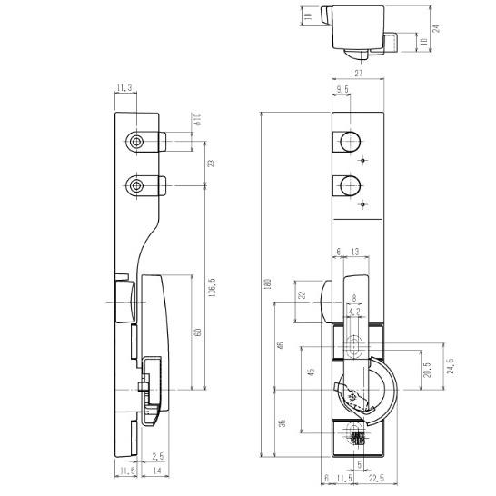 【メール便対応可能】YKK AP ボタン錠クレセント左勝手 [HH-3K-11613/CH(ステン)] HH5K11613
