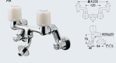 カクダイ (KAKUDAI)洗濯機用2ハンドル混合栓 127-603