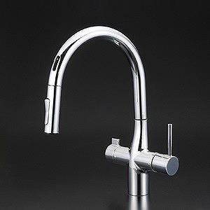 【送料無料】KVK KM6091EC 浄水器付シングルレバー式シャワー付混合栓 [センサー付] [水栓本体のみ]