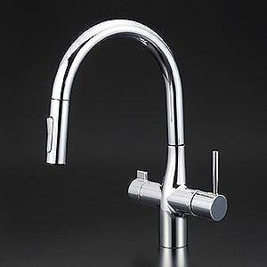 【送料無料】KVK KM6081EC 浄水器付シングルレバー式シャワー付混合栓 [センサー付] [水栓本体のみ]