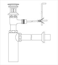 LIXIL(INAX) LF-710PAC 壁排水ボトルトラップ(排水口カバー付) ポップアップ式排水金具(呼び径32mm)