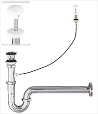 LIXIL(INAX) LF-96SAL 壁排水Sトラップ 栓は着脱式(ヘアキャッチャー付)※写真はPトラップを使用してます プッシュワンウェイ式排水金具(呼び径32mm)