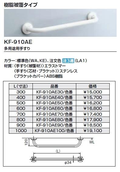 LIXIL(INAX) KF-910AE90 多用途用手すり(型) 寸法:(L=900)樹脂被覆タイプ