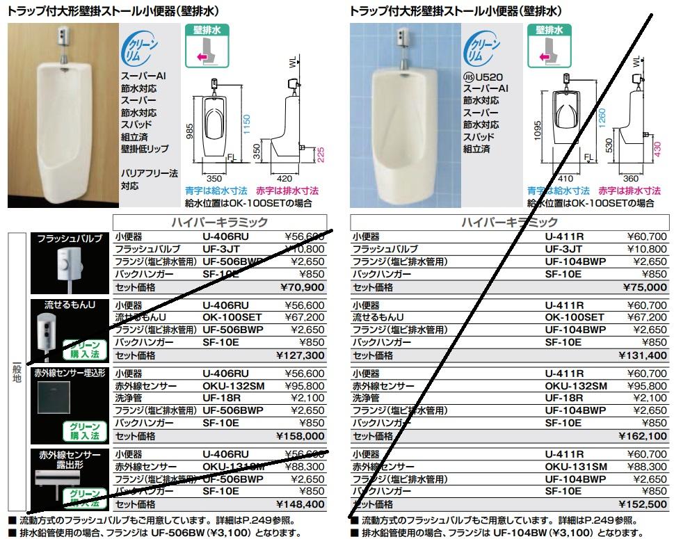 【送料無料】LIXIL U-406RU+OKU-132SM+UF-506BWP+SF-10E トラップ付大形壁掛ストール小便器(壁排水)