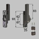 TOSTEM 商品コード : NETBL00130 ロック無しクレセント大(右用)[防火・非防火兼用] サッシ色ブラックもこちらの部品(ブロンズ色)になります