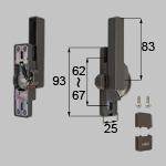 TOSTEM 商品コード : NETBL00124 ロック付クレセント大(右用)[防火・非防火兼用]サッシ色ブラックもこちらの部品(ブロンズ色)になります