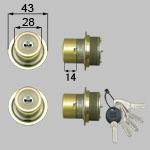 TOSTEM(LIXIL) ドア錠セット(MIWA DNシリンダー) 内筒のみ お使いの鍵の形状・差込み口の向きと合っていることを確認してください。商品コード : DDZZ3001 色 : ゴールド 内容物 : 本体×2、キー×5