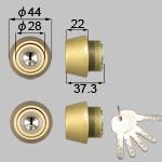 TOSTEM(LIXIL) JNシリンダー トステムのロゴマークはありません。商品コード : DCZZ1003 色 : ゴールド 内容物 : 本体×2、キー×5