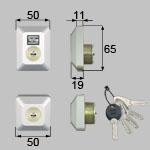 TOSTEM(LIXIL) ドア錠セット(MIWA DNシリンダー)長方形 お使いの鍵の形状・差込み口の向きと合っていることを確認してください。商品コード : D5GZ3002 色 : グレー(鍵穴上部のTOSTEMロゴマークもグレー色です)内容物 : 本体×2、キー×5