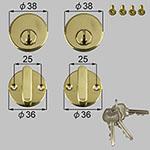 TOSTEM(LIXIL) ドア錠セット(ベスト ピンシリンダ-) 商品コード : DCXZ001 色 : ゴールド 内容物 : 本体×2、サムターン×2、キー×3、取付ネジセット×1