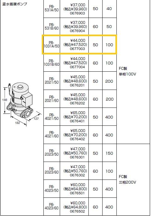ノーリツ(NORITZ) 温水循環ポンプ PB-1031A/50 FC製 単相100V 商品コード0677003