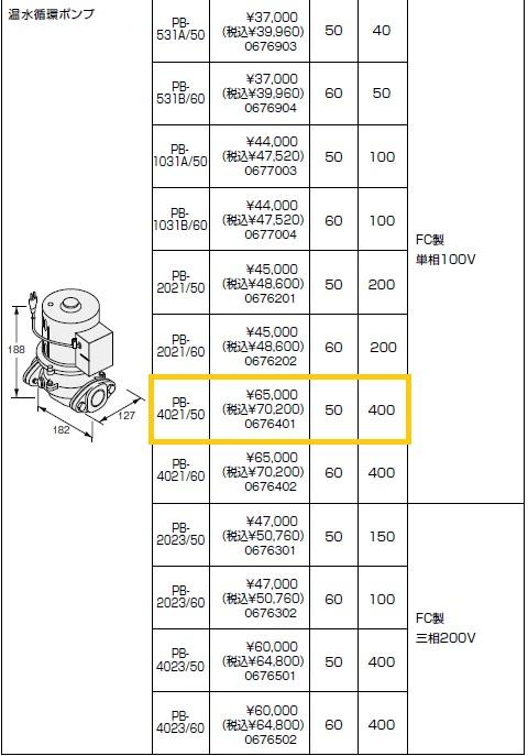ノーリツ(NORITZ) 温水循環ポンプ PB-4021/50 FC製 単相100V 商品コード0676401