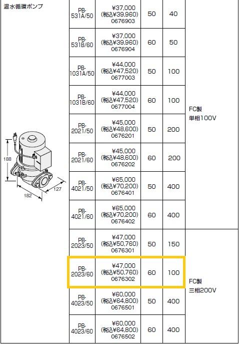 ノーリツ(NORITZ) 温水循環ポンプ PB-2023/60 FC製 三相200V 商品コード0676302