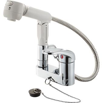 SANEI 節水水栓 シングルスプレー混合栓(洗髪用)K37100VR-13 ゴム栓付 シャワー・泡沫切替 【送料無料】【SANEIセール】