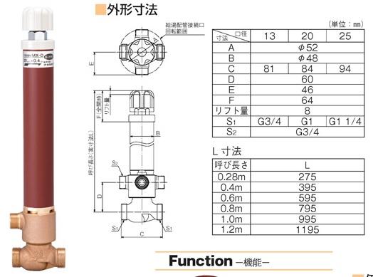 竹村製作所 不凍水抜栓 MX-D (湯水抜栓) MX-D-2513080 ■本体のみ