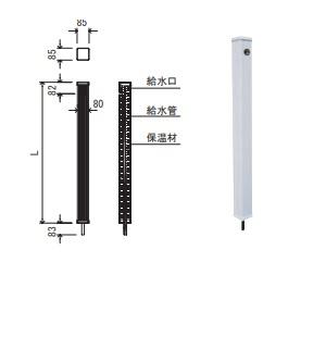 エバタ 水栓柱(片口タイプ) ESVS-800 ※10本セット