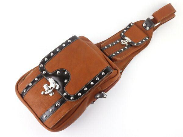 メンズ ワンショルダー ボディバッグ ブラウン スタッズ ロック金具 斜めがけ 本革 リメイク