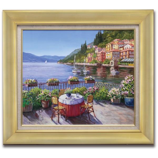 肉筆油彩画 湖畔の風景 F6号 美術品 レプリカ