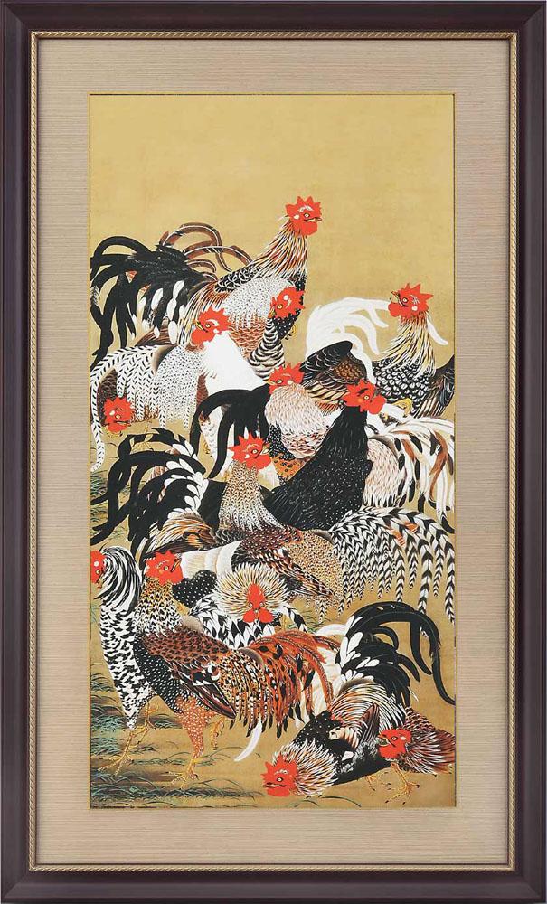 群鶏図 伊藤若冲 動植綵絵 複製額装・掛軸コレクション 美術品 レプリカ