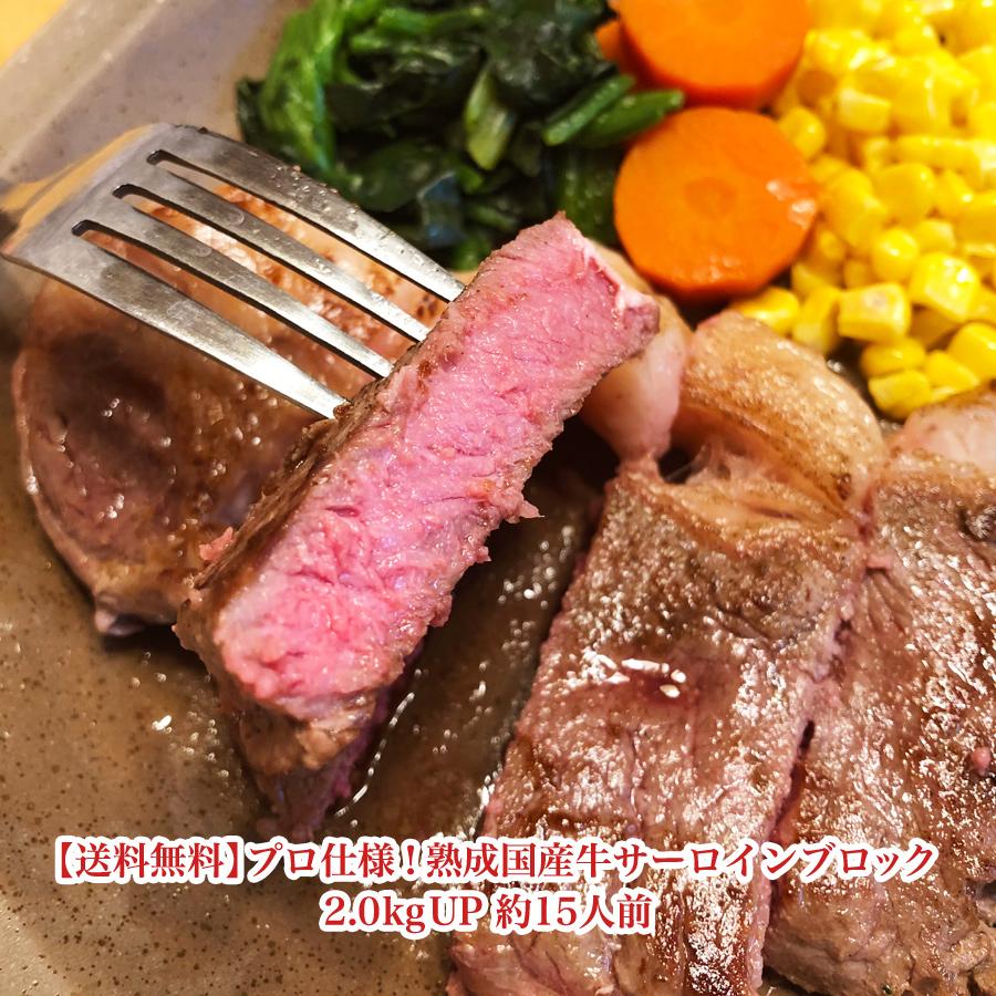 【送料無料】プロ仕様!熟成国産牛サーロインブロック2.0kgUP 約15人前