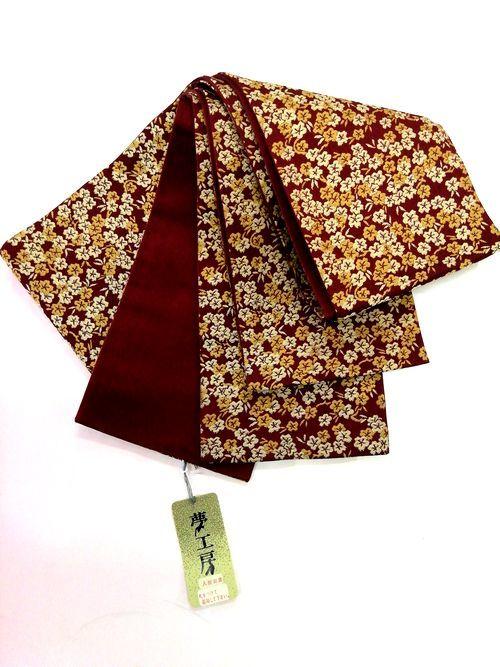 「訳あり半額」夢工房 正絹細帯 両面半巾帯 エンジに小花柄 人形衣装