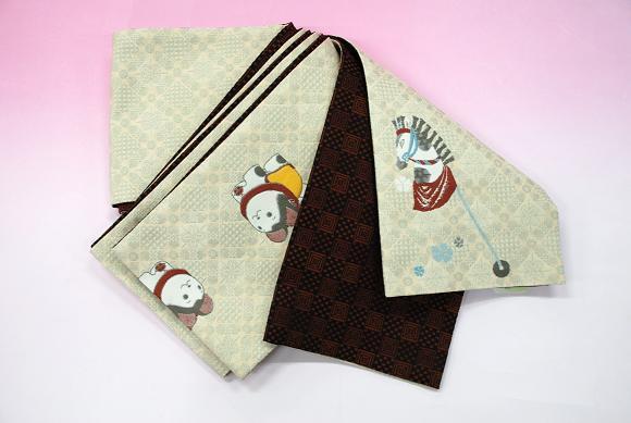 「ひさかたろまん」リバーシブル細帯 リバーシブル半巾帯 日本製