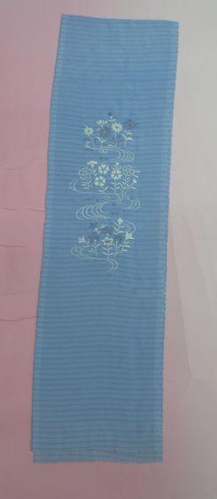 【ネコポス便可能】 刺繍入り絽半衿 水色 夏用半衿