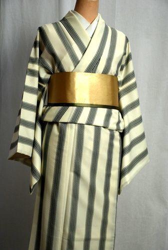 【送料無料】ひさかたろまんの洗える着物 オフホワイト Lサイズ 日本製プレタきもの