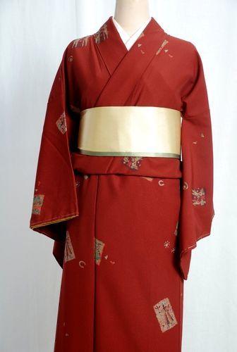 【送料無料】洗える仕立て上がり着物 レンガ色 Lサイズ プレタ着物