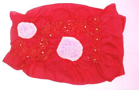 【送料無料】 子供帯 ローズレッドの女児兵児帯 正絹兵児帯