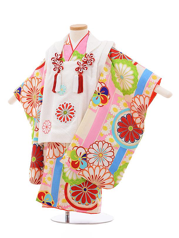 レンタル 七五三 着物 3歳 被布 セット 正絹 3390 紅一点 白×クリーム地 ピンク菊 新品足袋 プレゼント 往復送料無料