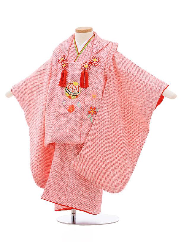 レンタル 七五三 着物 3歳 被布 セット 正絹 3394 ピンク地 菱田 まり 新品足袋 プレゼント 往復送料無料