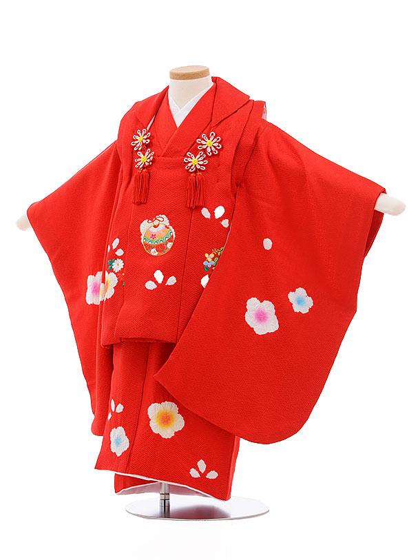 レンタル 七五三 着物 3歳 被布 セット 正絹 3396 赤地 花 まり ししゅう 新品足袋 プレゼント 往復送料無料