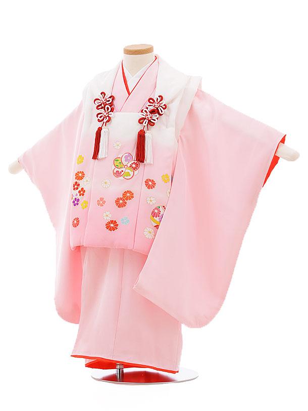 レンタル 七五三 着物 3歳 被布 セット 正絹 3397 白ピンクぼかし×ピンク小花 新品足袋 プレゼント 往復送料無料