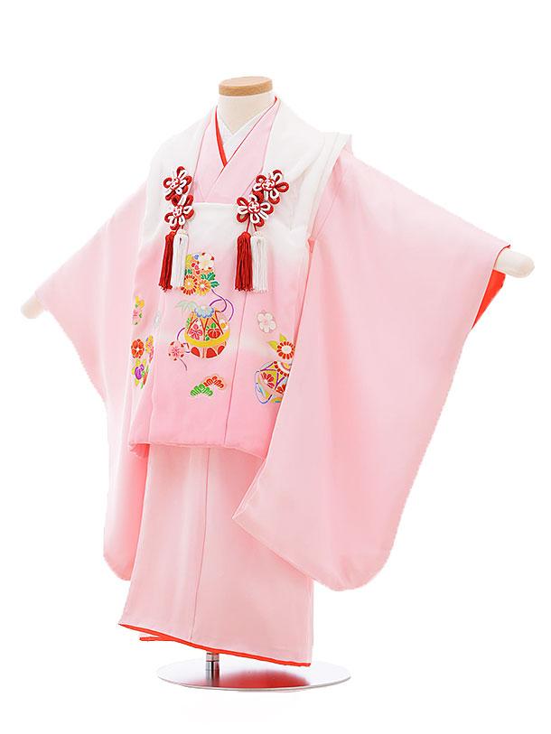 レンタル 七五三 着物 3歳 被布 セット 正絹 3398 白ピンクぼかし×ピンクまり 新品足袋 プレゼント 往復送料無料