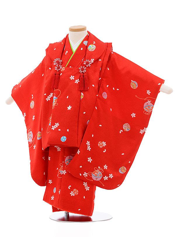 レンタル 七五三 着物 3歳 被布 セット 正絹 3405 赤×赤地 まり 桜 新品足袋 プレゼント 往復送料無料