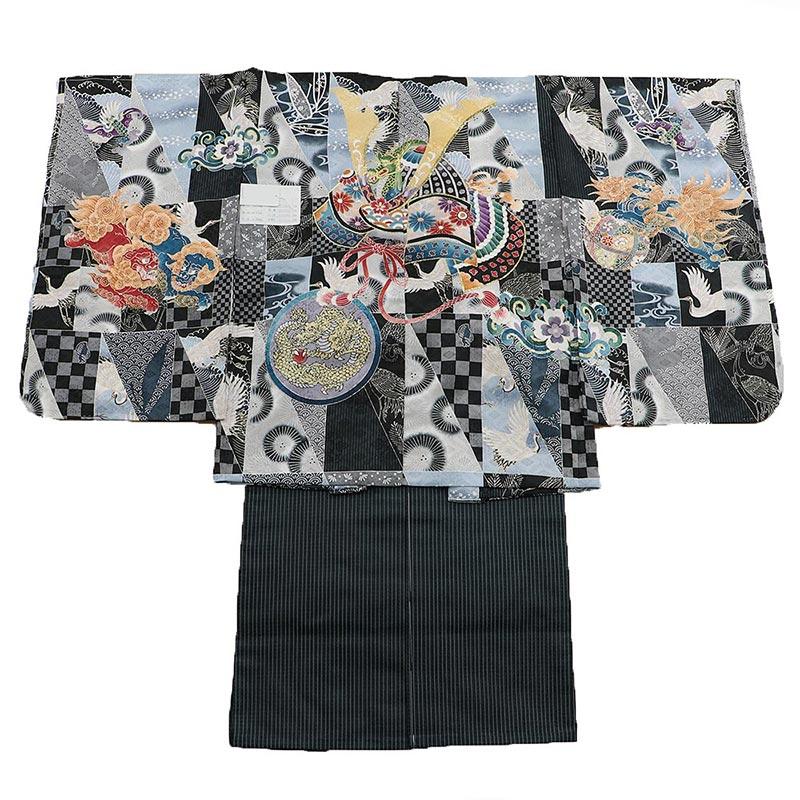 七五三 五歳袴 1zy1018 羽織黒 着物白 兜 金竜(販売品)