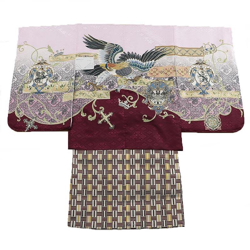 七五三 五歳袴 1zy1019 羽織桃色朱色 着物白 鷲(販売品)