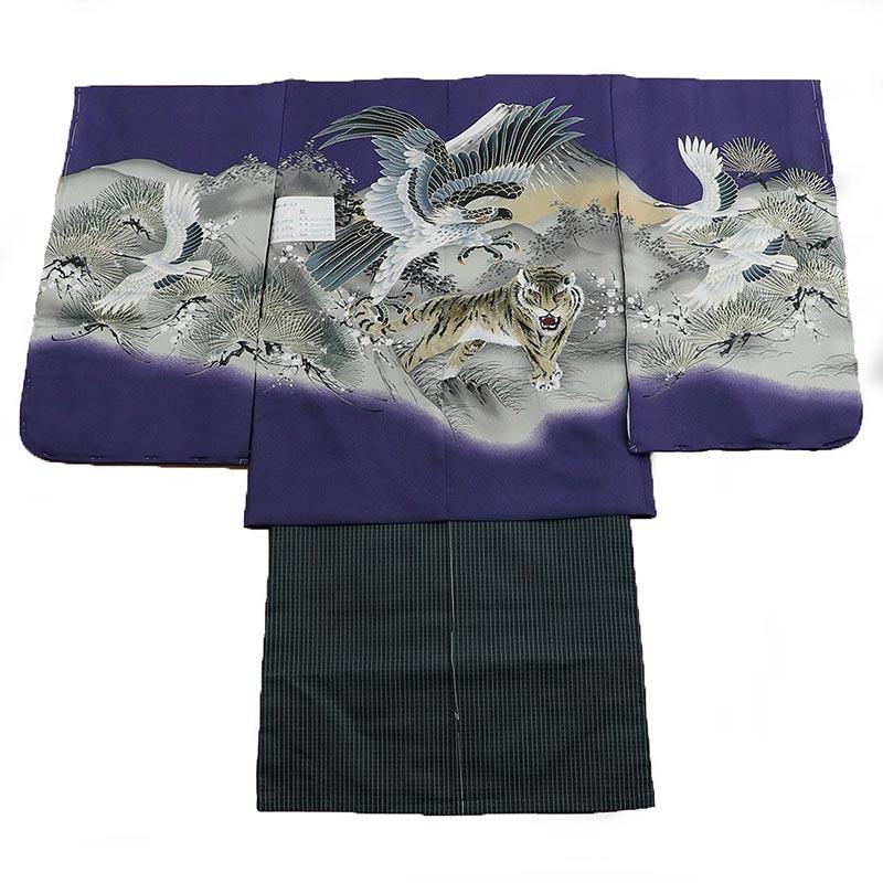 七五三 五歳袴 1zy1022 羽織紫 着物黒 鷲 虎(販売品)