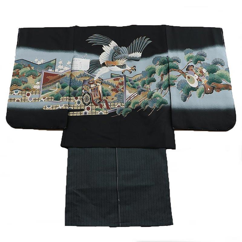 七五三 五歳袴 1zy1023 羽織黒 着物黒 鷲 松(販売品)