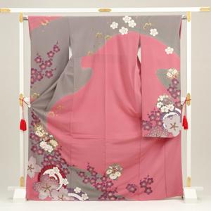 [Rental] 186 pink long-sleeved kimono rental in Cherry umbrella [wedding] [graduation ceremony] [full] [trusting galumnidae]